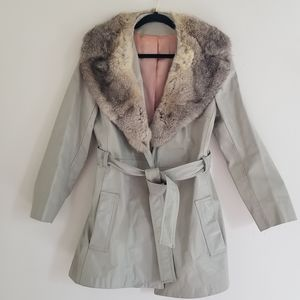 Vintage Tan Leather 70s Jacket with Fur Collar S